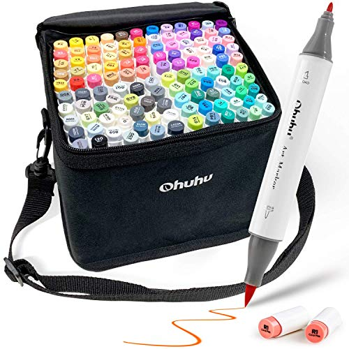 120-Color Alcohol Art Markers Set, Ohuhu Dual Tip, Brush & Fine, Sketch Marker, Alcohol-based Brush Markers, Comes w/ 1 Blender for Sketching, Adult Coloring, and Illustration -Honolulu Series