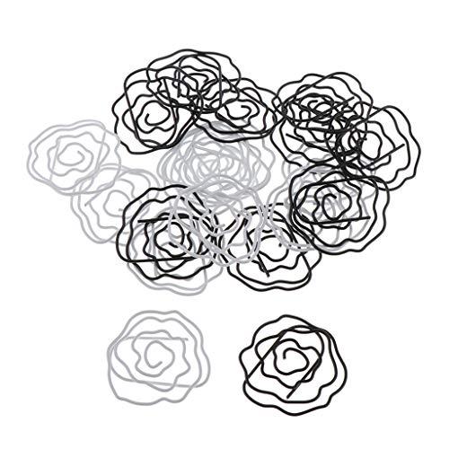 F Fityle 20x Rose Flower Design Clips de Papel Clips de Documentos Clip de Encuadernación Titular de La Foto