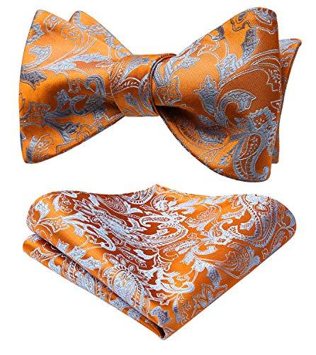 HISDERN Herren Floral Self Fliege und Einstecktuch Set Hochzeitsfeier Zubehör Orange/Blau