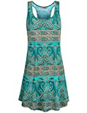 Hibelle Dress for Women, Ladies Scoop Neck Sleeveless Print Summertime Patterned Holiday Tank Dress with Pockets Green L 2018