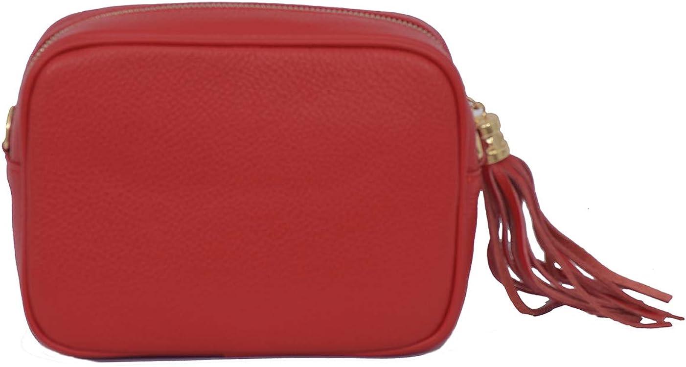 A to Z Leather Sac compact à bandoulière en cuir souple grainé pour femme doté d'un zip pompon à franges Rouge