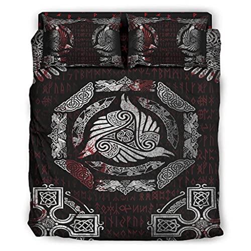 Wandlovers Juego de ropa de cama vikingo, 4 piezas, diseño de cuervos y nudos, impresión cómoda, funda nórdica y funda de almohada, color blanco, 228 x 228...