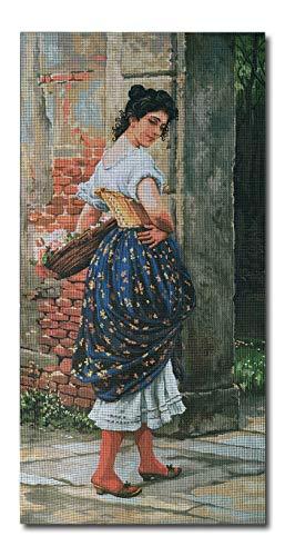 Sticktwist cod.220 Hudemas Gobelin Stickbild Stickpackung Damen mit Schafen halber Kreuzstich 50x30cm inkl