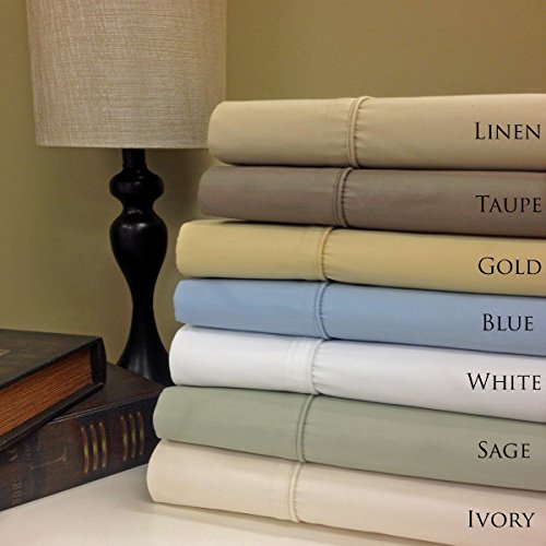 Royal Tradition Split-King: Adjustable King Size Gold Cotton-Poly-Blend Wrinkle-Free Sheets 650-Thread-Count Solid Sheet Set