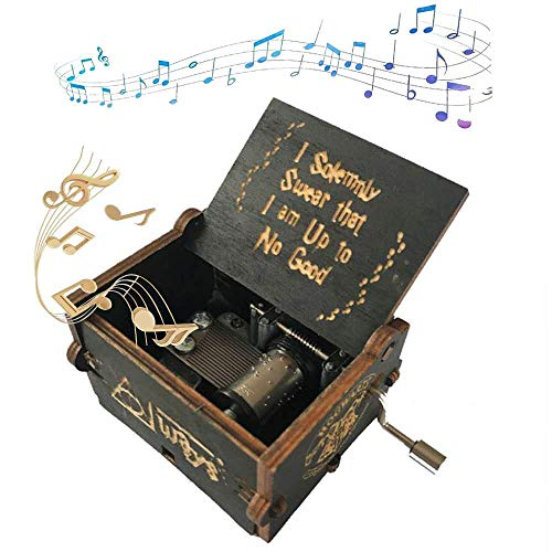 Qwqz zrzsbkl,HP Theme Music Box - Hand Crank Wooden Mechanical Musical Box,Carved Wooden Music Box,is The Best Gift for Children (Black HP)