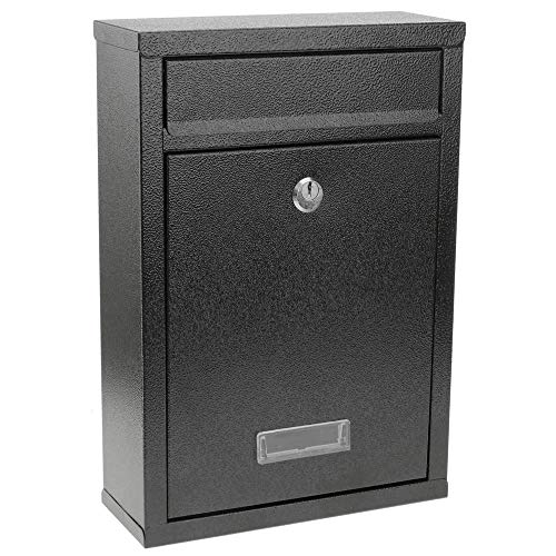 PrimeMatik - Cassetta delle Lettere Casella Postale e Posta Metallico di Colore Nero da Parete 215 x 82 x 315 mm