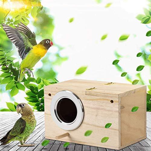 Drewniany domek dla ptaków, duży wiszący domek dla ptaków na zewnątrz dziedzińca ogrodowego, kolibry, sikory, dzięcioły, dzikie ptactwo, ozdobne budki lęgowe