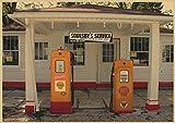 sanzhisongshu Gasolinera En La Ruta 66 De EE. UU. Papel Kraft Cartel Clásico Bar Café Sala De Estar Comedor Pinturas Decorativas De Pared J101 50X70Cm