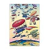 Tiiiytu Cartel De Viaje Vintage Ilustración De Dibujos Animados Apertura del Canal De Panamá Avión De Globo De Aire Cuadro De Arte De Pared Antiguo Impresión De Lienzo -50X70Cm Sin Marco