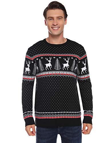 Aibrou Suéter de Navidad para Familia,Jersey Pullover de Punto de Copos de Nieve de Renos,Suéter de Navidad Invierno para Unisex Hombre/Mujer/Chicos/niñas (1# Papá Negro XXL)
