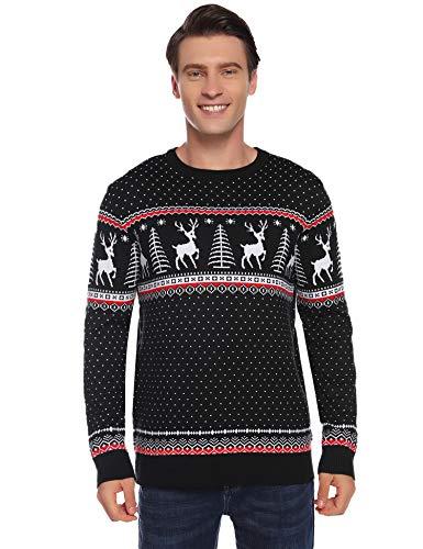 Abollria dames lange gebreide trui met rendierpatroon kersttrui ronde hals winterpulli kerstsweater voor vrouwen meisjes