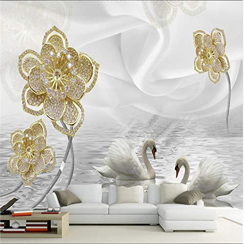 Zyzdsd Luxus-Schmucksachen-Blumenwandbilder Wohnzimmer Der Stereoanlage 3D Fernsehsofaschlafzimmerhintergrund-Wandpapierwandbilder-350X250CM