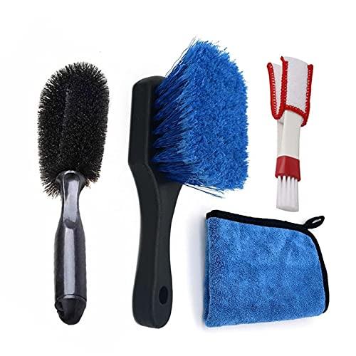 WZWS Kits de Limpieza para Coche 4pcs Coche Limpieza Cepillo Conjunto Handle Coche Neumático Rim Air Acondicionador Limpieza Herramienta Microfibra Absorbent Toalla