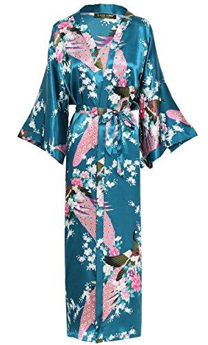 BABEYOND Damen Morgenmantel Maxi Lang Seide Satin Kimono Kleid Pfau Muster Kimono Bademantel Damen Lange Robe Schlafmantel Girl Pajama Party 135cm Lang (Türkis)