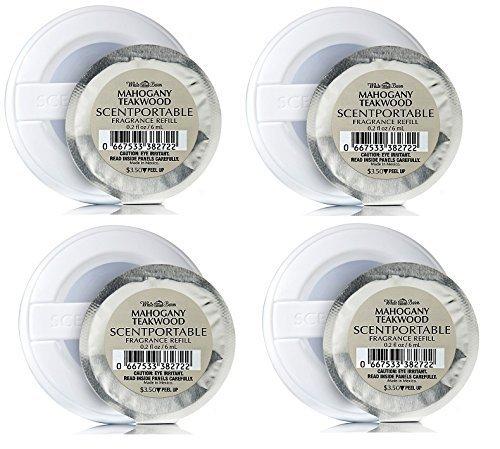 Bath & Body Works Acajou Teck Scentportable Bundle de 4 disques de recharge
