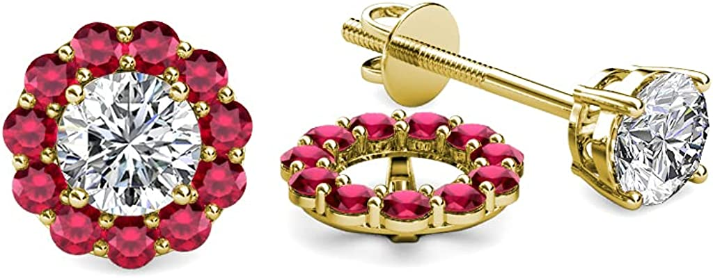 TriJewels Ruby Halo Jacket for Stud Earrings 0.57 ct tw in 14K Yellow Gold