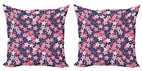 Funda de cojín para cojín (2 unidades), diseño de primavera japonesa, con cremallera y doble cara, 45 cm x 45 cm, color azul oscuro y rosa coral