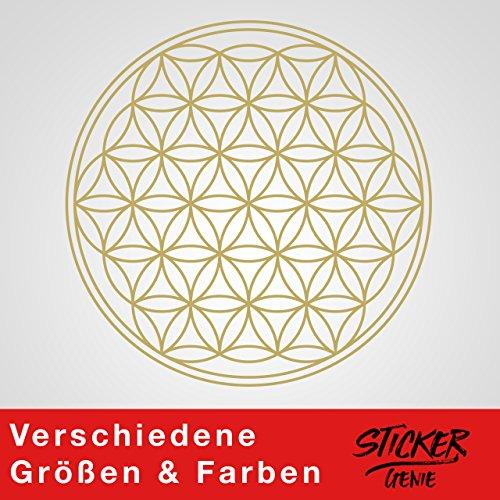 Blume des Lebens - IN - Geometrie - Wandtattoo Wandaufkleber Sticker Aufkleber (100 (B) x 100 (H) cm, Gold)