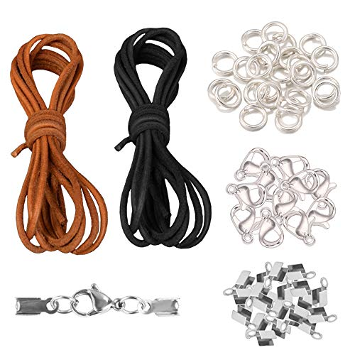 Sweieoni Lederband 5M x 2 mm Verschluss Lederband 452 Stück Verschluss Kette Lederriemen Lederband Kette mit Verschluss für Armband Halsketten DIY Schmuckband Herstellung