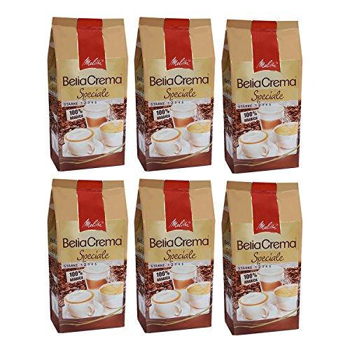 Melitta BellaCrema Speciale, 100 % Arabica, Ganze Kaffeebohnen, 1000g, 6er Pack (6 x 1kg)