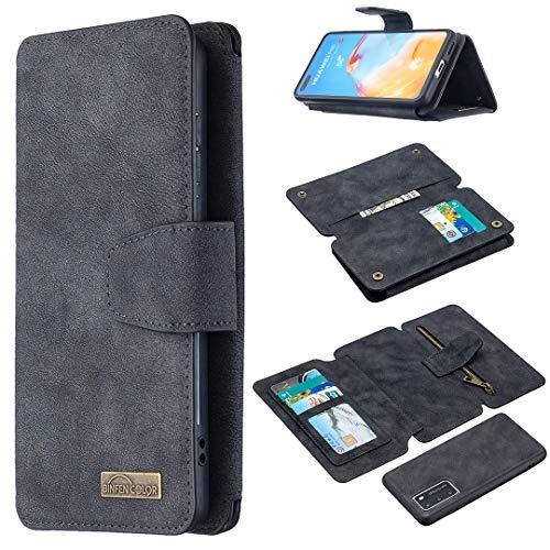 Snow Color Huawei P40 Hülle, Premium Leder Tasche Flip Wallet Case [Standfunktion] [Kartenfächern] PU-Leder Schutzhülle Brieftasche Handyhülle für Huawei P40 - COBFE080245 Schwarz