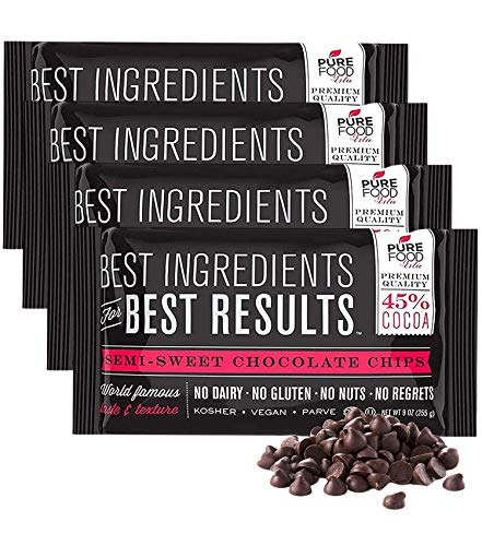 Barry Callebaut Chocolate Chips | All Natural | Certified Kosher | Gluten-Free, Dairy-Free, Nut-Free | Vegan | 9 oz bag (Semi Sweet Chocolate Chips, 4 Packs)
