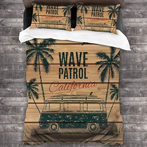AIMILUX Funda Edredón,Surf Vintage Minivan con árboles Tropicales sobre Tablas de Madera Freedom Fun Wave Tema de Fin de Semana,Ropa de Cama Funda Nórdica,1(220x240cm)+2(50x80cm)
