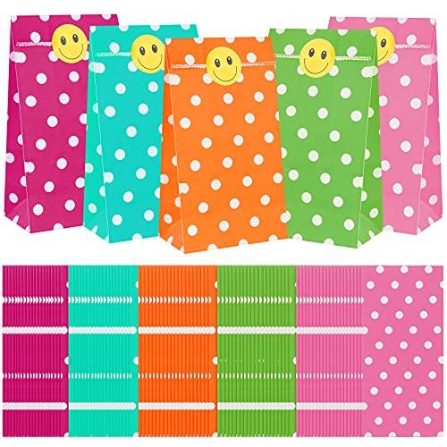 100 Stück Geschenktüten Kindergeburtstag,Geschenktüten Papier,Papiertüten Klein,Geburtstagstüten,Partytüten mit 100 Stück Etikettenaufklebern,5 Farben