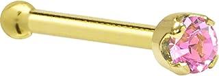 """Solid 14k Yellow Gold 2mm Pink Cubic Zirconia Nose Bone 20 Gauge 1/4"""""""