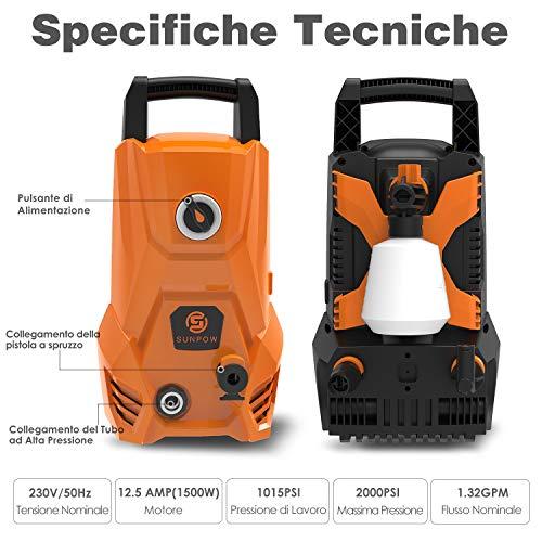 Idropulitrice -SUNPOW Idropulitrice ad Alta Pressione Portatile (135bar, 300L/h, 1500W) 2 tipi di ugelli per pulire auto, piscina, strada ecc.(arancia)