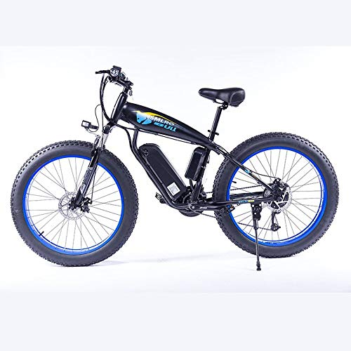 LQRYJDZ 26inch Fat Tire E Bike Mountain Bike 500W Folding Electric Scooter Bicycle with Removable 48V 13Ah Lithium-Iion Battery Ebike (Color : Blue 500W 13AH)