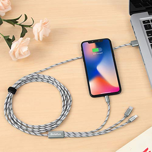3meters Multi USB Kabel Bolatus Universal Ladekabel 3 in 1 Nylon Mehrfach Handy Ladegerät Adapter Lang Kabel mit Typ C Micro USB Kompatibel mit Smartphone, Tablets und mehr (2Pack*10FT)