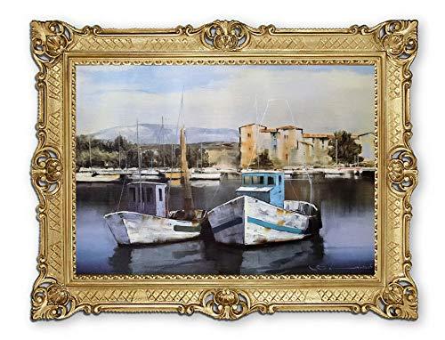 Lnxp mooi schilderij 90x70 cm M17 boot boten schip schip strand zee scheepsbeeld zeilschip zeilboot golven maritieme afbeeldingen barok antiek repro