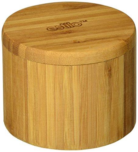 Estilo Single Round Salt or Spice Box with Lid, Bamboo -