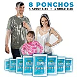 Disposable Rain Poncho Family 8 Pack: Clear Emergency Raincoat Ponchos w/Hood for Adults & Kids - Heavy Duty One Size Fits All Waterproof Travel Plastic Rain Jacket for Adult Men & Women or Children