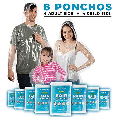 Poncho de lluvia desechable para la familia de 8 paquetes: impermeable transparente de emergencia con capucha para adultos y niños, resistente, talla única, impermeable, para...