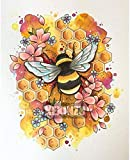 ZAWAGU Pintura diamante bricolaje 5D punto de cruz set de regalo bordado flores abejas artesanía mosaico kit completo rhinestone redondo decoración del hogar diamante redondo