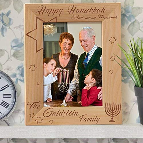 Happy Hanukkah And Many Menorah Personalized Wooden Picture Frame 5 X 7 Brown Vertical Home Kitchen
