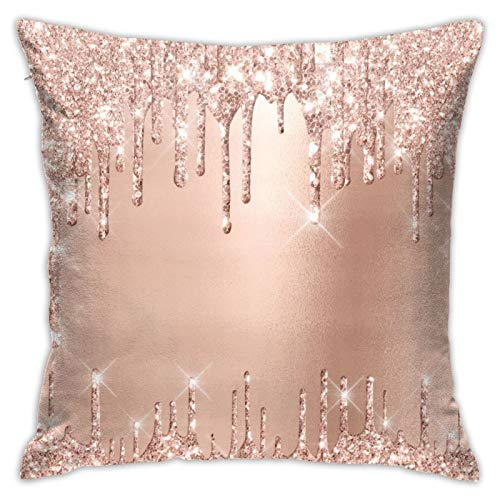 Sparkly Glitter Drips Pink Rose Gold Blush Glam Throw Pillow Covers Decorative Couch Pillow Cases Cotton Pillow Square Cushion Cover for Sofa, Couch, Bed and Car 18 X 18 Inches