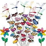 Mariposas Jardin, Garden Ornaments Dragonfly 8 piezas con coloridos molinos de viento 2 piezas para patio exterior Patio Plant Decoration (40 PC)