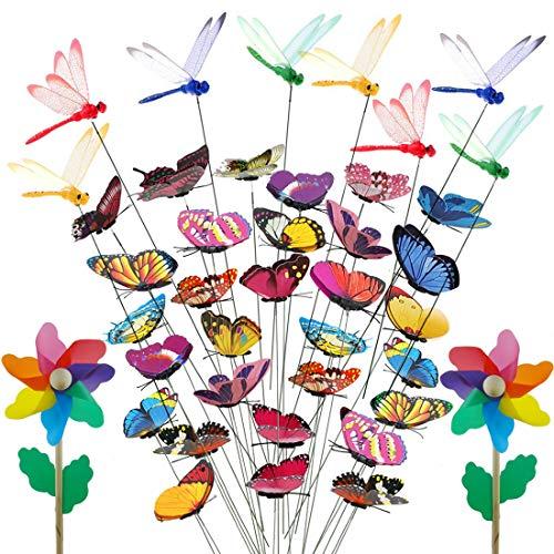 Papillon Jardin, ornements de jardin libellule 8 pièces avec moulin à vent coloré 2 pièces pour décoration de jardin patio extérieur (40 pièces)