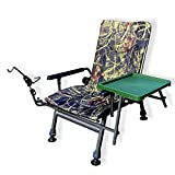 Carp Portable Fishing Chair, Folding Armchair, Adjustable Back Rest Table and rod holder...