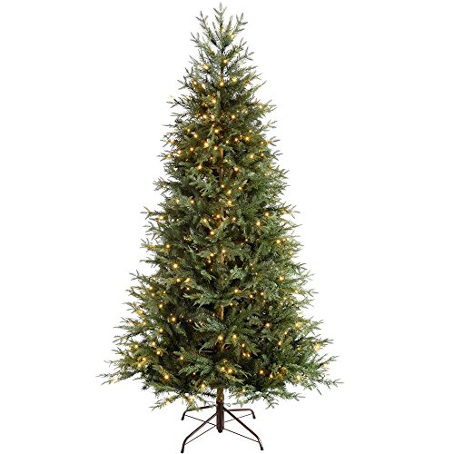 WeRChristmas Pre-Lit Mountain Pine Natural Bark Multi-Function Christmas Tree, 400 LED Lights, 7 feet/2.1 m - Green