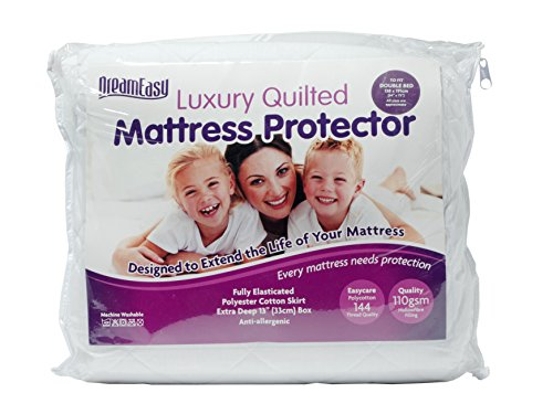 DreamEasy Extra Long Quilted Mattress Protector, Polyester-Cotton, White, Single