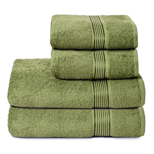GLAMBURG Juego de 4 Toallas Ultra Suaves, de algodón, Contiene 2 Toallas de baño de 70 x 140 cm, 2 Toallas de Mano de 50 x 90 cm, Uso Diario, Compacto y Ligero, Color Verde Kiwi