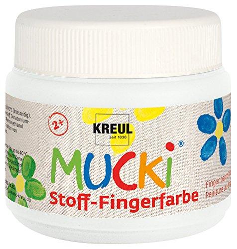 Kreul 28101 - Mucki leuchtkräftige Stoff - Fingerfarbe auf Wasserbasis, parabenfrei, glutenfrei, laktosefrei und vegan, optimal für die Anwendung mit Fingern und Händen, 150 ml Dose, weiß