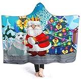 Manta con Capucha de árbol de Navidad de Santa 50'x40' Manta de Abrigo de Terciopelo de Lujo Súper Suave y acogedora Manta de Siesta cálida Poncho para Sala de Estar Dormitorio Dormitorio