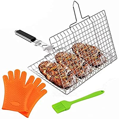 Fish Grill Basket Stainless Steel - Portable BBQ Grilling Basket, Removable Handle Grilling Basket, Non-Stick Folding Lightweight BBQ Grill, Flexible Lockable Grill Grate, Gloves & Busting Brush Fish