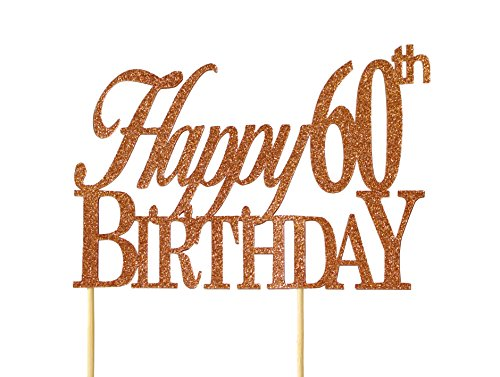 All About Details Copper Happy-60th-birthday Cake Topper, 6 x 8
