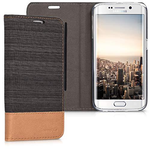 kwmobile Coque Compatible avec Samsung Galaxy S6 Edge - Coque à Rabat Portefeuille Fonction Support en Similicuir Anthracite-Marron